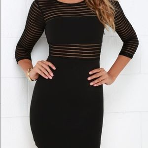 Lulu's Perfect Black body con mesh dress